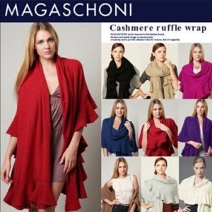 Magaschoni Cashmere Ruffle Wrap Scarf One Size